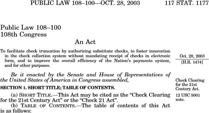 Publication of the Check 21 Act in the U.S. Congressional Record