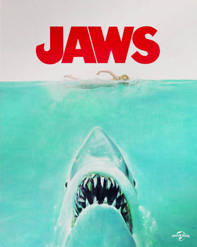 DVD cover of the Steven Spielberg movie 'Jaws'