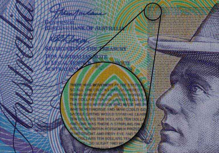Microprinting on Australian bank note