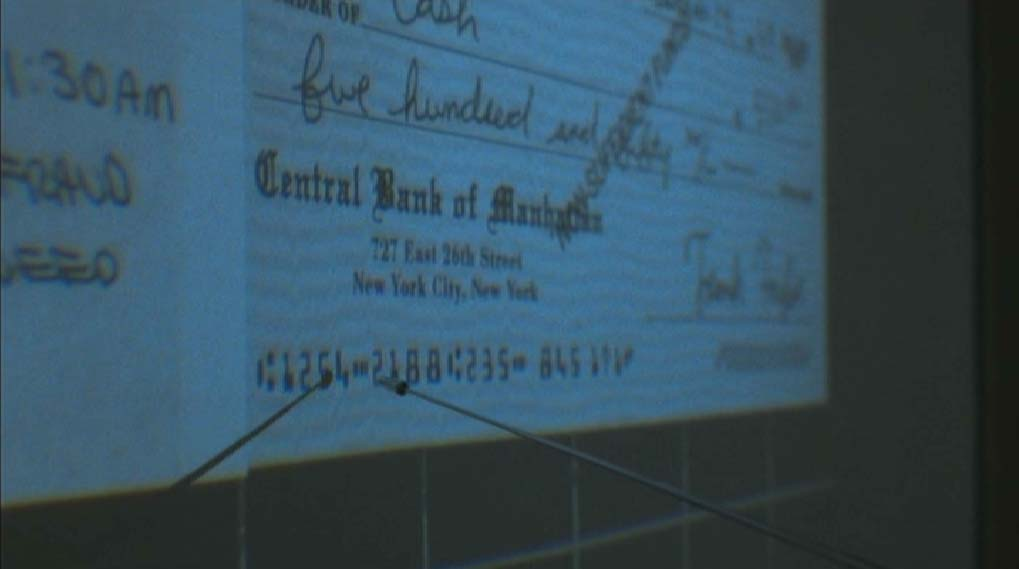Codeline with the E13B banking font on a check