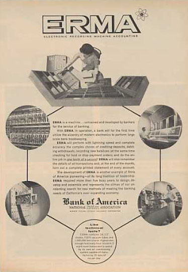 Advertisement of the Bank of America for ERMA (Electronic Recording Machine - Accounting)