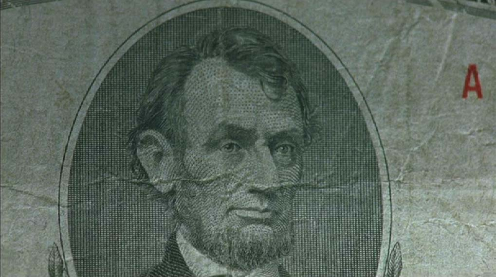 Bank note with Abraham Lincoln engraving