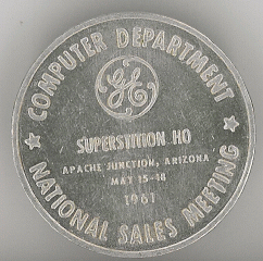 Remembrance coin for the 1961 national sales meeting of the General Electric Computer Department
