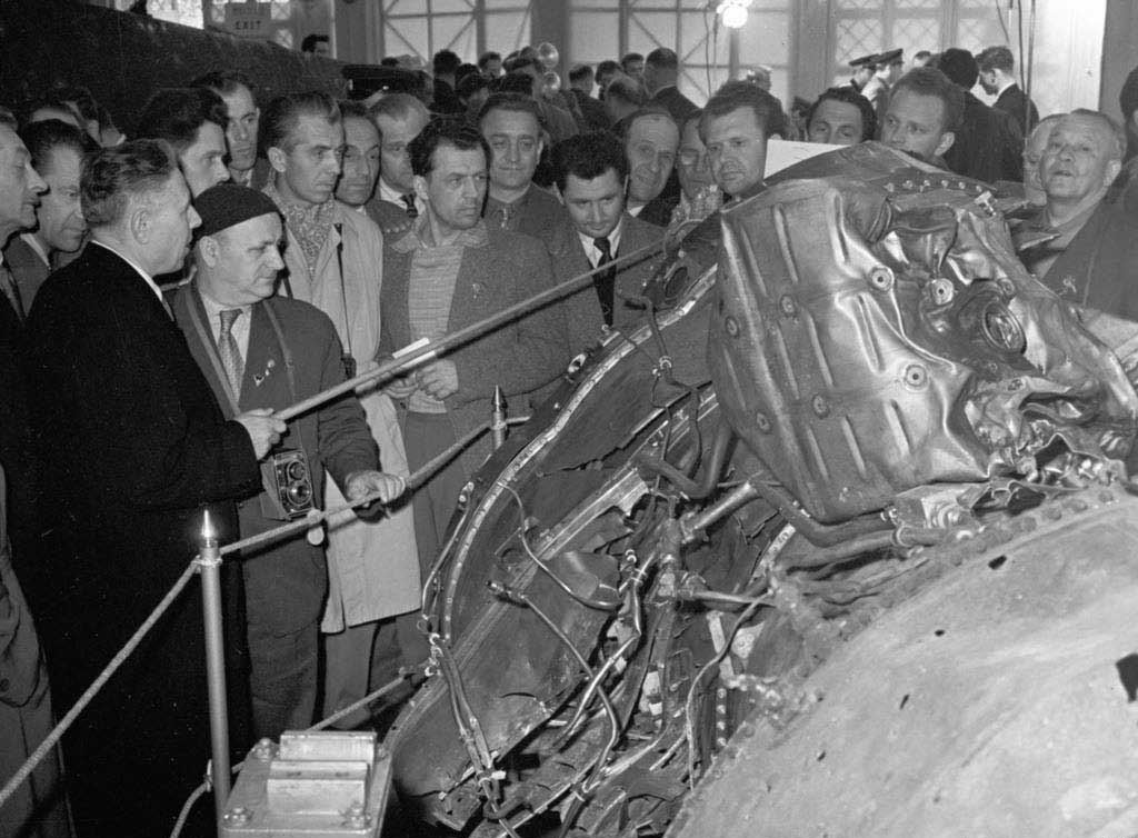Wreckage of Francis Gary Powers' Lockheed U-2 spy plane on display in Moscow