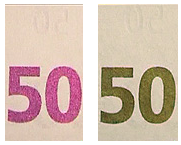 Optically variable ink (OVI) on 50 Euro bank note