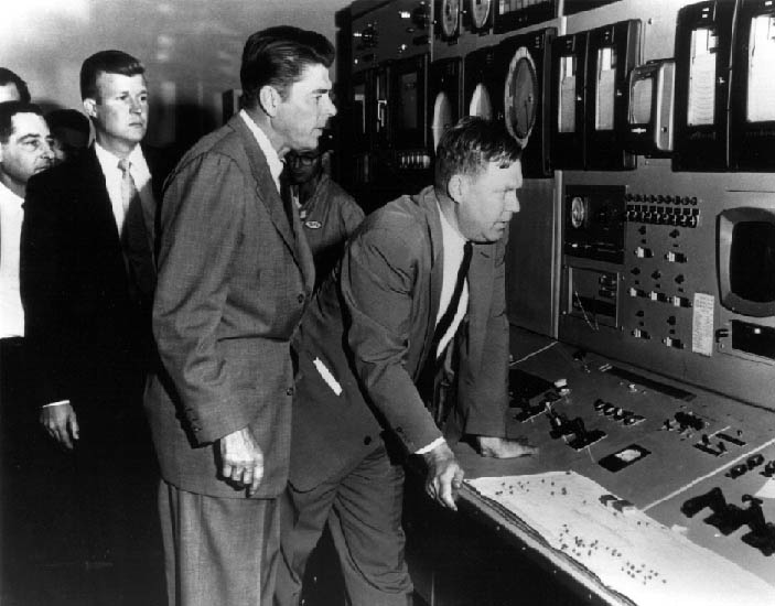Spokesman Ronald Reagan visits a General Electric site