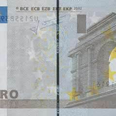 Security thread in Euro bank note