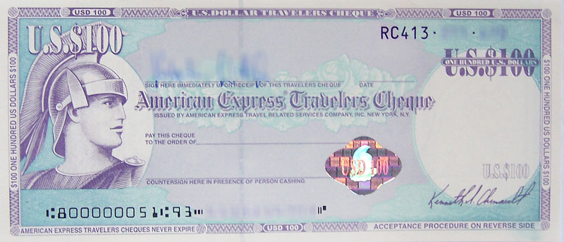 Traveler's check from American Express with the E13B font on codeline