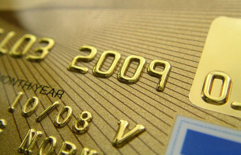 Credit card with embossing