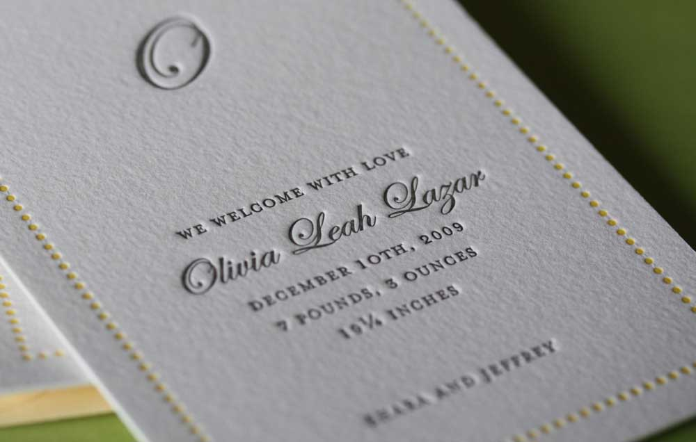 Printed invitation with embossing