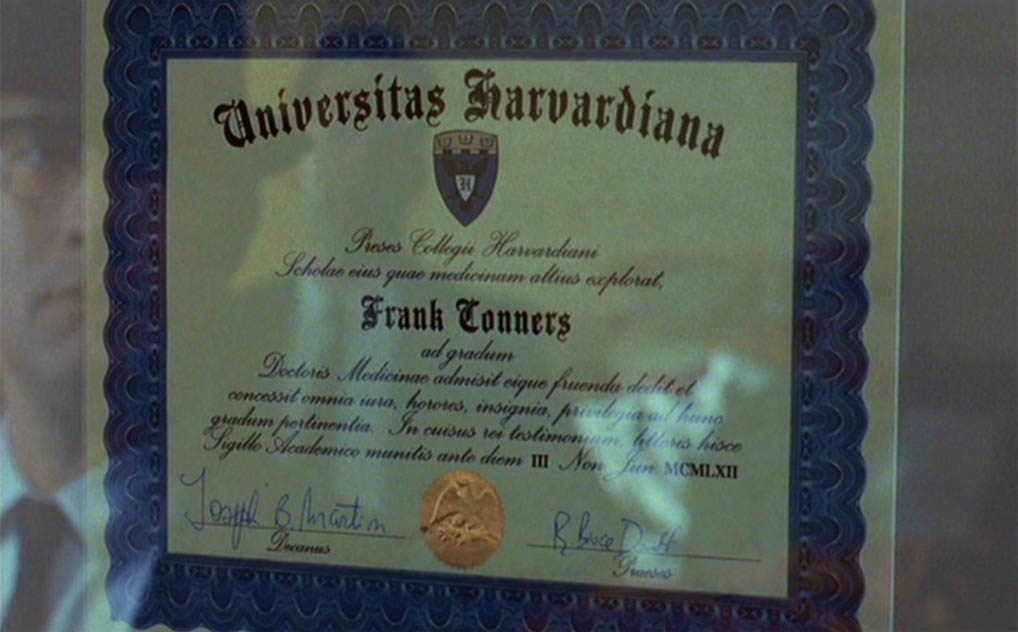 Fake diploma hanging on wall