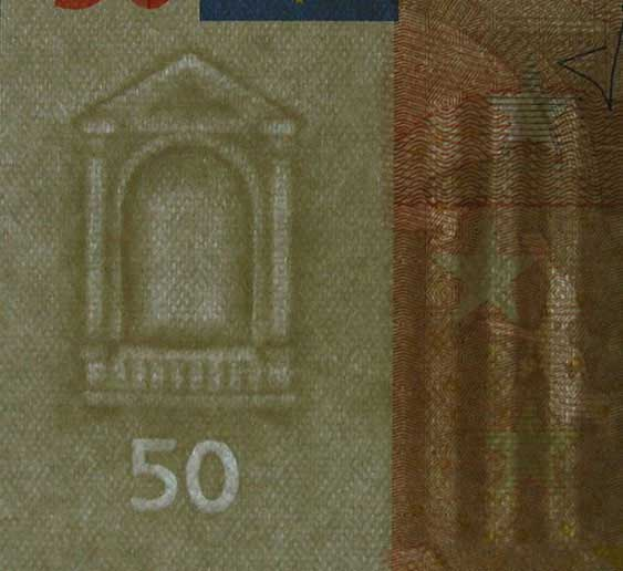 Watermark in a 50 Euro bank note