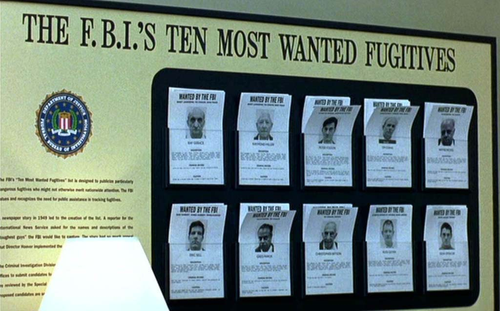 Wall with F.B.I. most wanted fugitives list