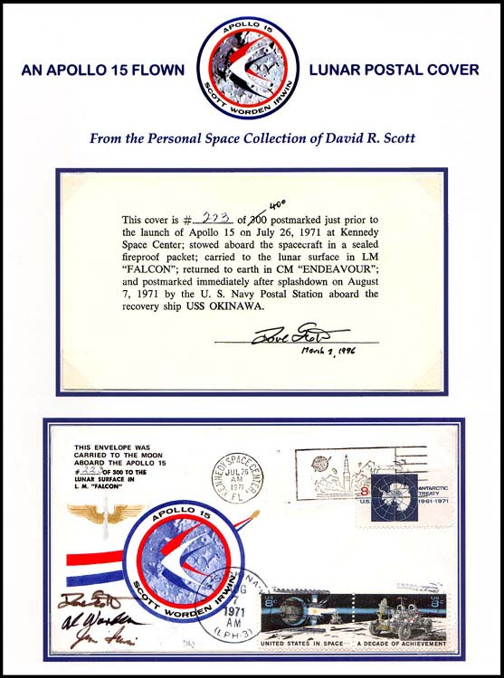 Commemorative postal covers for the Apollo 15 flight