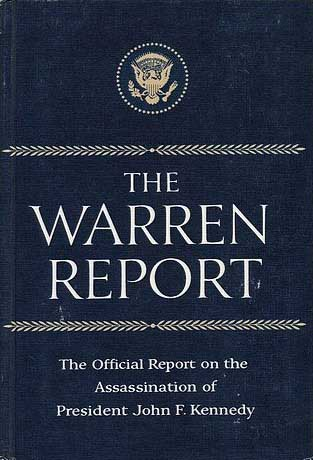 Book cover of the Warren Commission Report on the President John F. Kennedy assassination