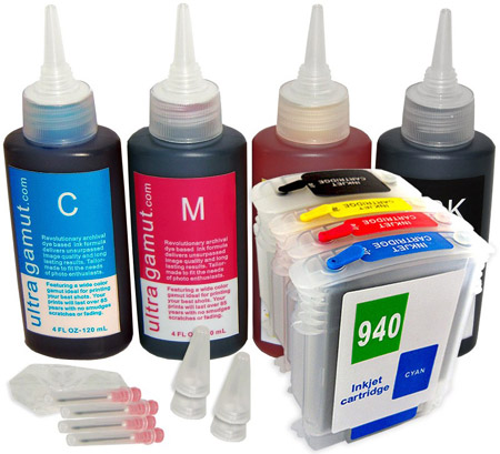 CMYK color cartridges and refills for an inkjet printer