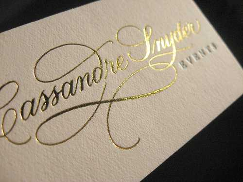 Business card with gold printing