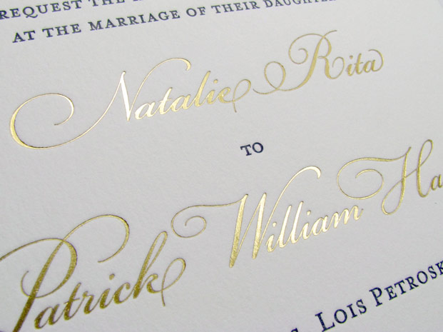 Invitation with gold printing