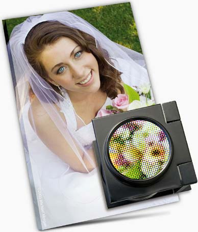 Printer's loupe on printed photo