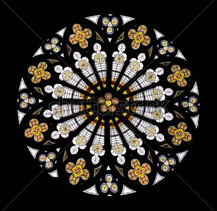 Stained glass window with rosette