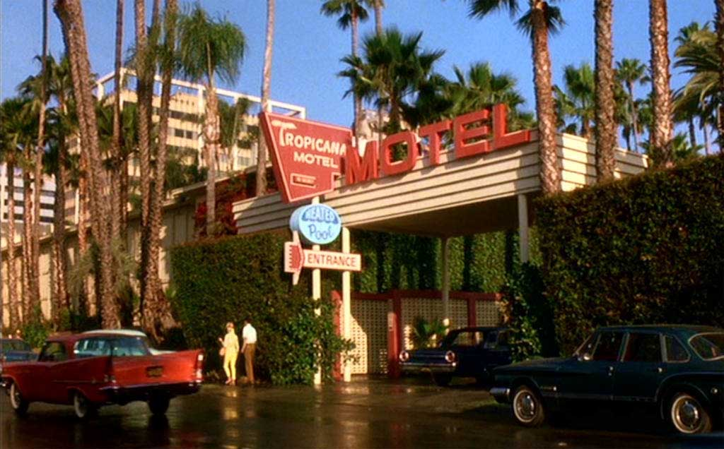 The Roosevelt Hollywood hotel disguised as the Tropicana motel