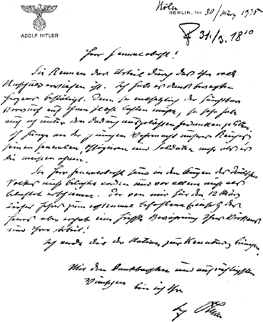 Letter with Adolf Hitler's handwriting