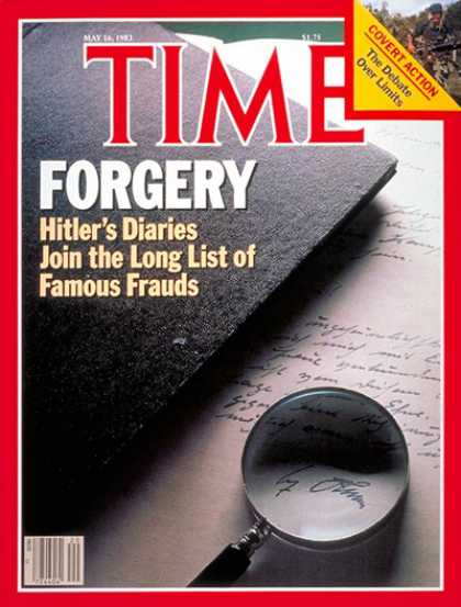 Times magazine cover on the Hitler Diaries hoax
