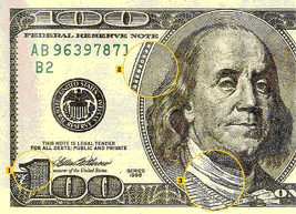 Microprinting on the $100 bill
