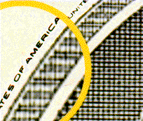Magnification of the microprinting on the $100 bank note