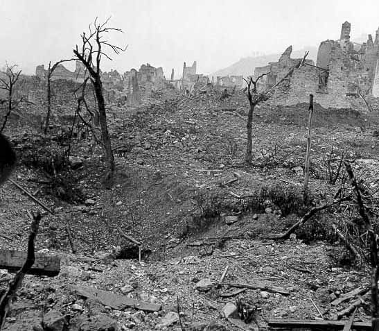 Ruins of the town of Cassino during the Battle of Monte Cassino (World War II)