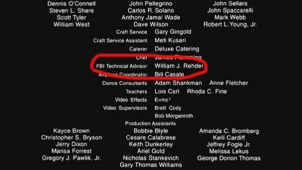 F.B.I. technical advisor William Rehder in the end credits of the Steven Spielberg movie 'Catch Me If You Can'