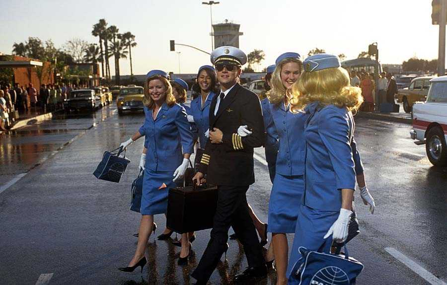 Frank Abagnale as pilot on a Pan Am promotional tour with air hostesses