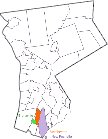 Map of Westchester County (New York) with Bronxville, New Rochelle and Eastchester
