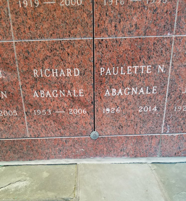 Burial niches of Paulette and Richard Abagnale