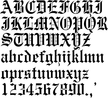 Text sample with the Old English font